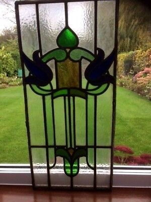 Original 1920s / 1930s Leaded Stained Glass Front Door Panels x 2
