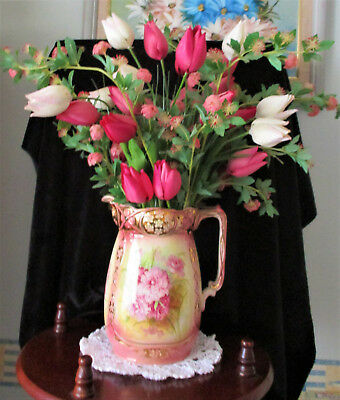 Antique Staffordshire Carnations Jug with Silk Flower Arrangement   *IDEAL GIFT*