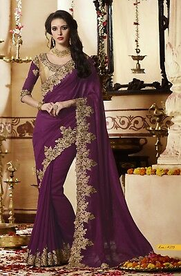 Purple Indian Designer Embroidered Bollywood Sari Georgette Party Wear Saree