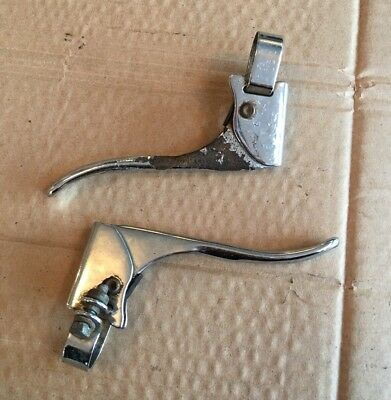 Pair Of Vintage Chrome Bicycle Brake Levers, Retro 3 Speed Bike Part #1603