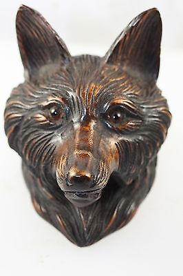 Black Forest Carved  Wood Wooden Treen  Inkwell Fox  Animal With Glass Eyes