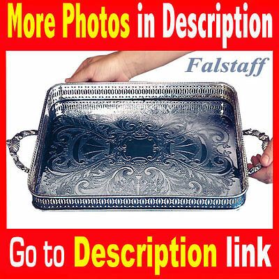 Falstaff Silver Serving Tray ( Made in England ) Style = vintage antique platter