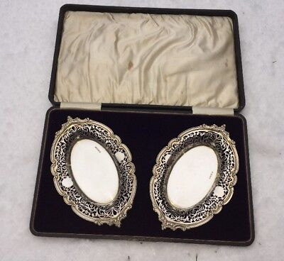 Antique RARE Silver Hallmarked George Randle 1910 Boxed Silver Gilt Dishes