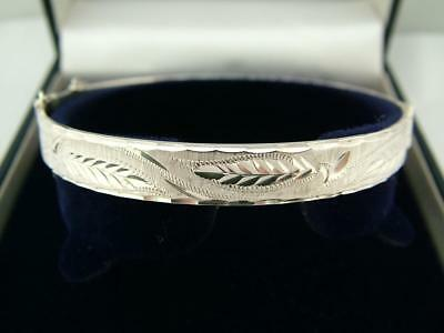 1985 Hallmarked Vintage Solid 925 Sterling Silver Bangle Bracelet With Box Boxed