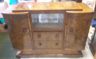 a lovely vintage art deco walnut burr sideboard in good used condition