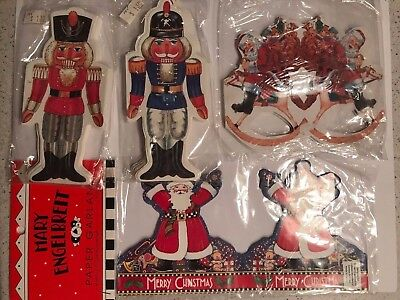 Vintage Lot of 4 Paper Christmas Garland - Two Nutcracker and Two Santa - MIP