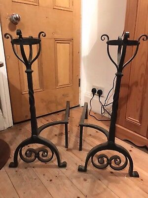 Pair of old wrought iron fire dogs