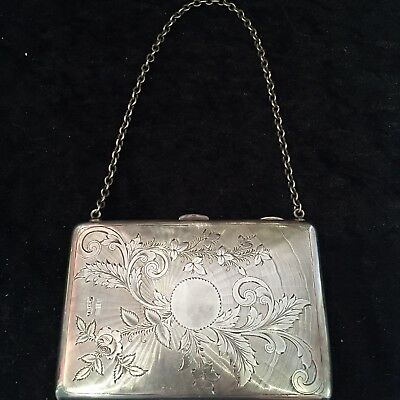 Solid Silver Antique Calling Card Case/Purse 1905 With Chain