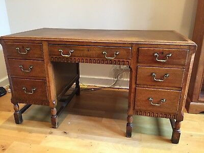 Antique Oak Pedestal Desk with Leather inlay