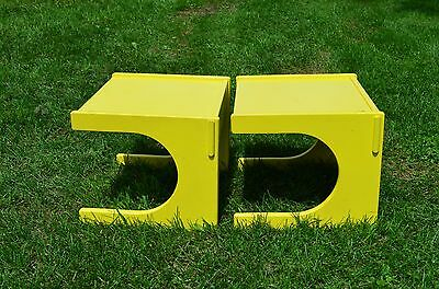mid century atom modern floating lane altavista yellow side night tables-space
