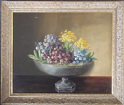 FRAMED OIL ON CANVAS PAINTING signed A STILL LIFE STUDY OF SPRING FLOWERS