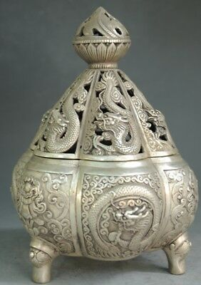 Marked Chinese  Old Tibet Dynasty silver Dragon Hollow Out Incense Burner Censer