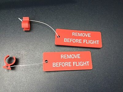 1 pr. AIRCRAFT CIRCUIT BREAKERS (C/B) LOCKOUT RINGS w/ Remove Before Flight tag