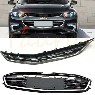 2P Front Bumper Upper Grill+Lower Grille Trim For Chevrolet Malibu 2016 2017 18