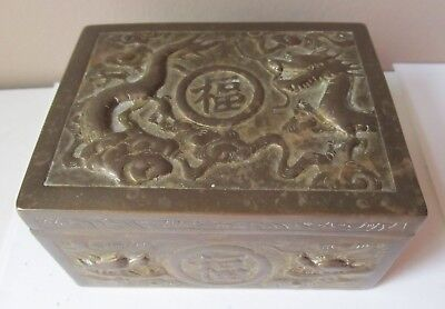 Antique 1920s CHINESE BRASS Cigarette BOX Trinket DRAGONS Wood Lined