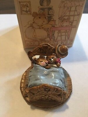 Wee Forest Folk Mousey's Teddy - Retired in 1985 - Cute Vintage Chipped