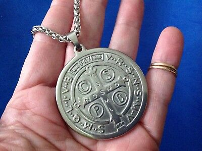 Rare LG St BENEDICT NECKLACE Pendant Protection Saint Medal Stainless Steel 19""