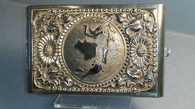 Heavy large solid silver cigarette case with map of Indonesia 130gms