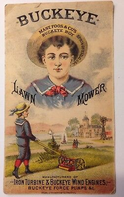 Vintage Antique Buckeye Lawn Mower Buckeye Boy  trade card