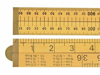 """RST Wooden Folding Rule 1m 39"""" Metric and Imperial Brass Hinges RSR073"""