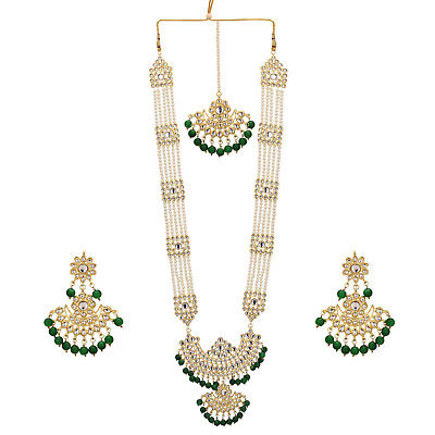 Jwellmart Indian Traditional Faux Pearl Multi Gem Stone Rani Haar Necklace Set