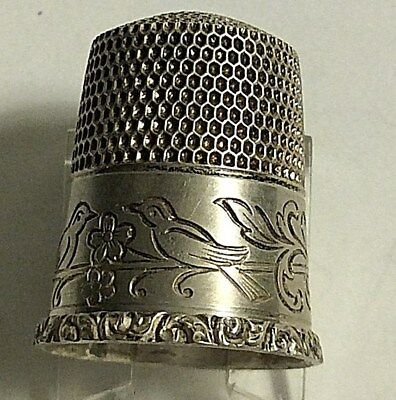 Antique Simons Bros Sterling Silver Birds on Flower Branch Design Thimble Sewing