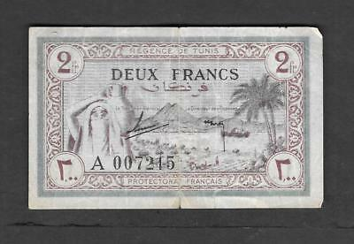 Tunisia 2 francs 1943 Circulated Banknote