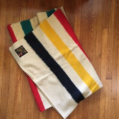 VINTAGE 1920s-30s TRAPPER POINT 4-POINT STRIPED WOOL BLANKET MADE IN ENGLAND