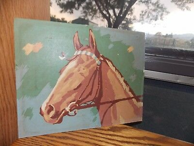 Horse Paint by Number Picture Vintage Handmade