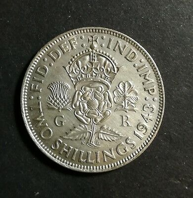 AU 1943 British Silver Two Schillings Coin One Florin England
