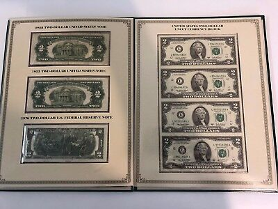 United States $2 TWO DOLLAR BILLS NOTES CURRENCY Display Set - Red Seal 1928-G,