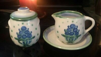 M.A. HADLEY HANDMADE POTTERY CREAM  AND SUGAR SET BLUEBERRY BOUQUET Vintage EUC