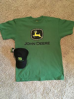 JOHN DEERE CAP AND T-SHIRT SET, LARGE, NEW, Open Packages