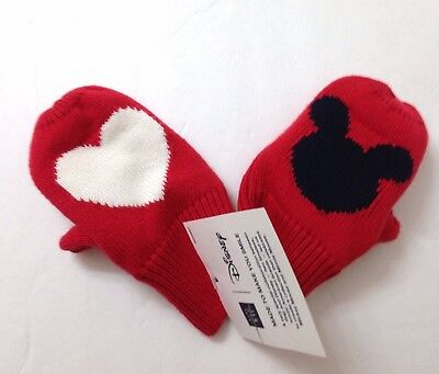 Baby Gap XS/S (11cm/12-24mo) MICKEY MOUSE HEART/LOVE MITTENS Winter Knit Glove