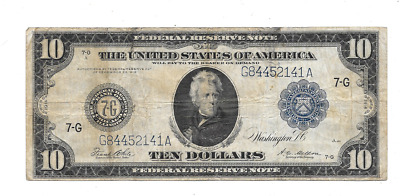 1914 $10 Large Federal Reserve Bank Of Chicago Illinois