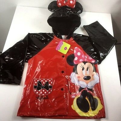 Kids Girl's Disney Minnie Mouse Hooded Rain Coat Jacket Waterproof Youth Toddler