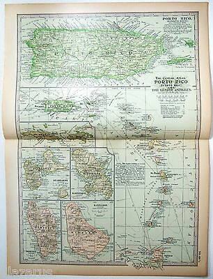 Original 1902 Map of Porto Rico & The Lesser Antilles by The Century Company