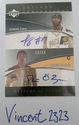 """JERMAINE O'NEAL  & P. O'BRYANT / UD """"Trilogy"""" / GENERATIONS - Dual Auto #d/33"""