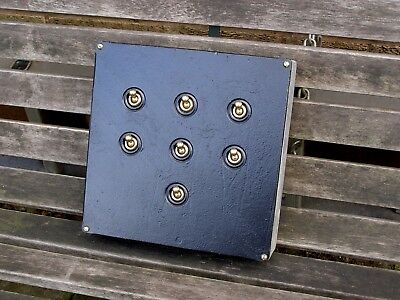 VINTAGE 7-WAY INDUSTRIAL SWITCH BOX with BRASS 15A SWITCHES  Free Postage! (UK)