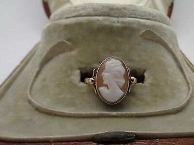 Victorian  9ct gold natural shell cameo ring Size K½ 2.1g not scrap