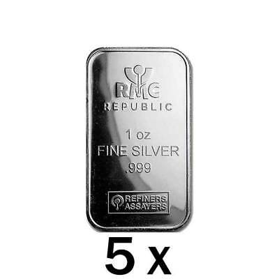 5 x 1 oz Silver Bar RMC - Republic Metals Corp
