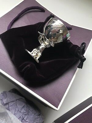 Asprey London 925 silver egg cup on child stand New in packaging