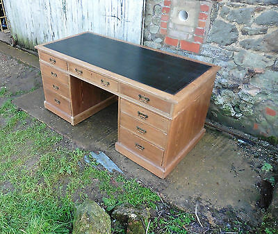 A Very Large Victorian Pitch Pine Desk, by Heals