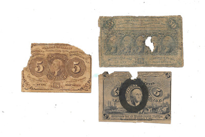 1862 5 & 50 Cent 1Stplus 1863 5 Cent 2Nd Issue Fractional Currency
