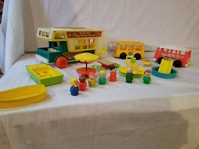 LOT of Vintage Fisher Price Buses, Boats, Camper Little People #994
