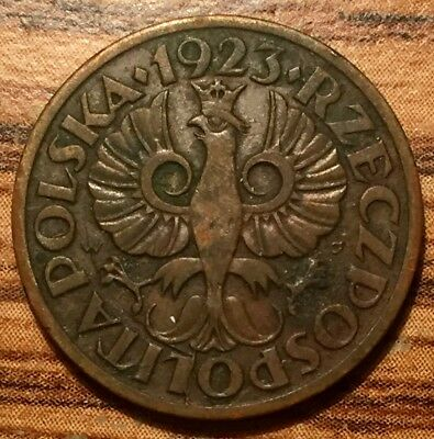1923 (w) Poland 5 Groszy Crowned Eagle Bronze Coin