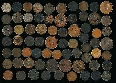 70 Old Canada Coppers (Large Cents & Tokens) Must See > Nice Lot > No Rsrv