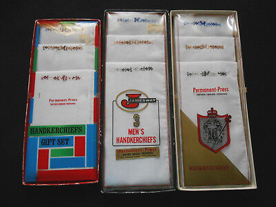 Vintage Lot of Mens Handkerchiefs Monogram M New Old Stock