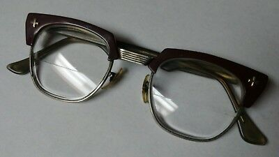 Vintage Eye Glasses Bausch & Lomb Brown & Silver 24 B&L 48 Safety rx bifocal