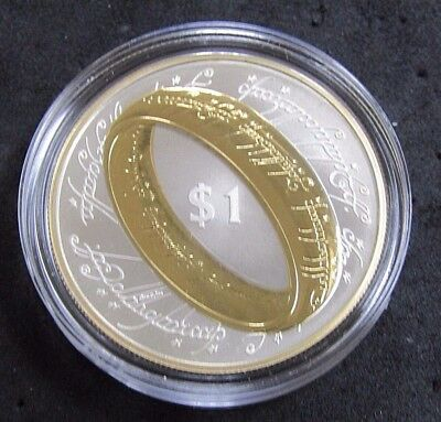 """2003 Proof New Zealand """"Lord Of The Rings"""" $1 Sterling Silver Coin W/ Box & COA"""